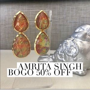 Amrita Hammered Gold-Tone Pink Iridescent Earrings